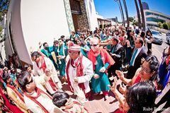 An Indian bride and groom wed in a traditional Indian ceremony.