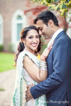 Following their gorgeous Indian wedding ceremony, this bride and groom take a moment to pose for beautiful portraits.