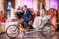 This Indian wedding reception is a glittering success with beautiful, soft floral and decor. The bride is gorgeous in a pale turquoise lengha.