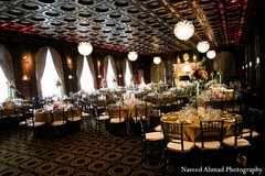 A reception venue for an Indian and Pakistani newlywed couple.