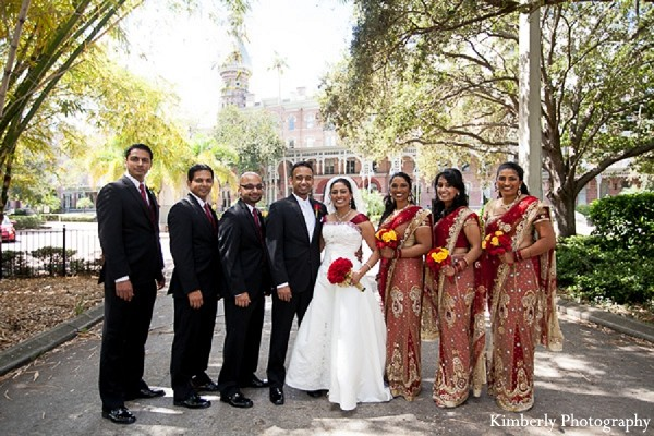 Bridal Party in Tampa, FL Indian Wedding by Kimberly Photography