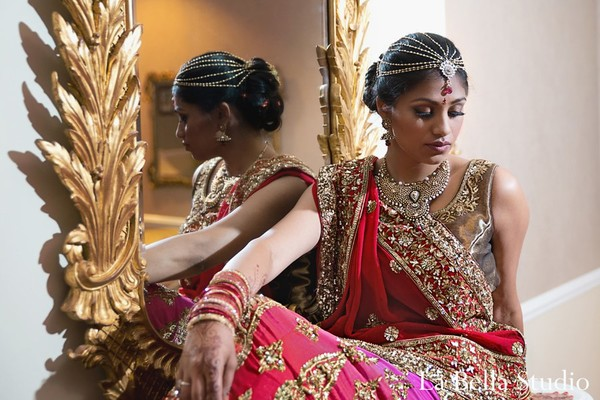 Getting ready in Somerset, NJ Indian Wedding by La Bella Studio
