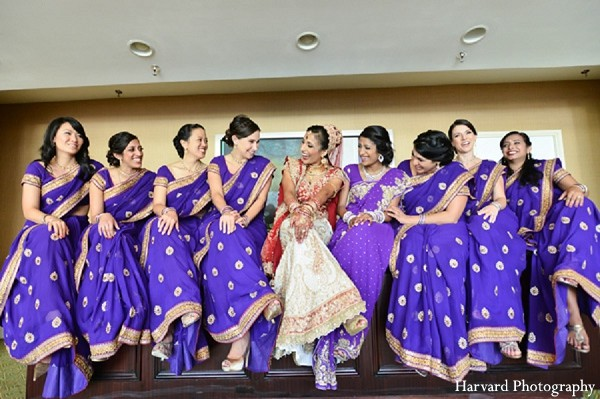 indian bridal party,indian bridesmaids,indian bridesmaid outfits,indian bride,indian groom,indian groomsmen,indian sari,purple bridesmaids sarees,purple bridesmaids saree