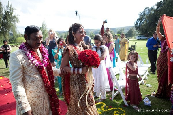 Ceremony in Oahu, HI Indian Wedding by Aihara Visuals