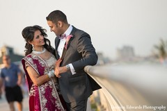 An Indian bride and groom takes some portraits before their wedding reception.
