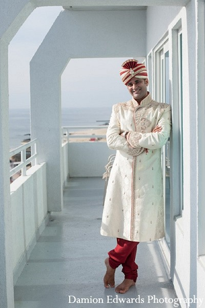 Groom Fashion in Long Branch, NJ Indian Wedding by Damion Edwards Photography