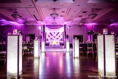 A purple reception for an Indian bride and groom.