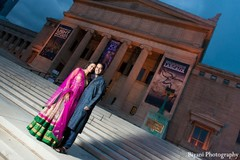 An Indian bride and groom take some engagement portraits.