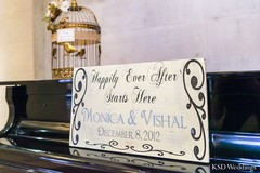 As part of their Indian wedding ceremony, this bride and groom opt for a sweet entry sign!