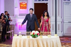 An Indian bride and groom at their wedding reception.