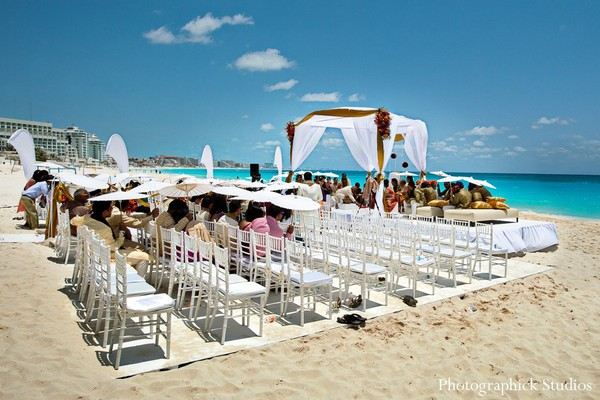 Ceremony in Cancun, Mexico Destination Indian Wedding by Photographick Studios