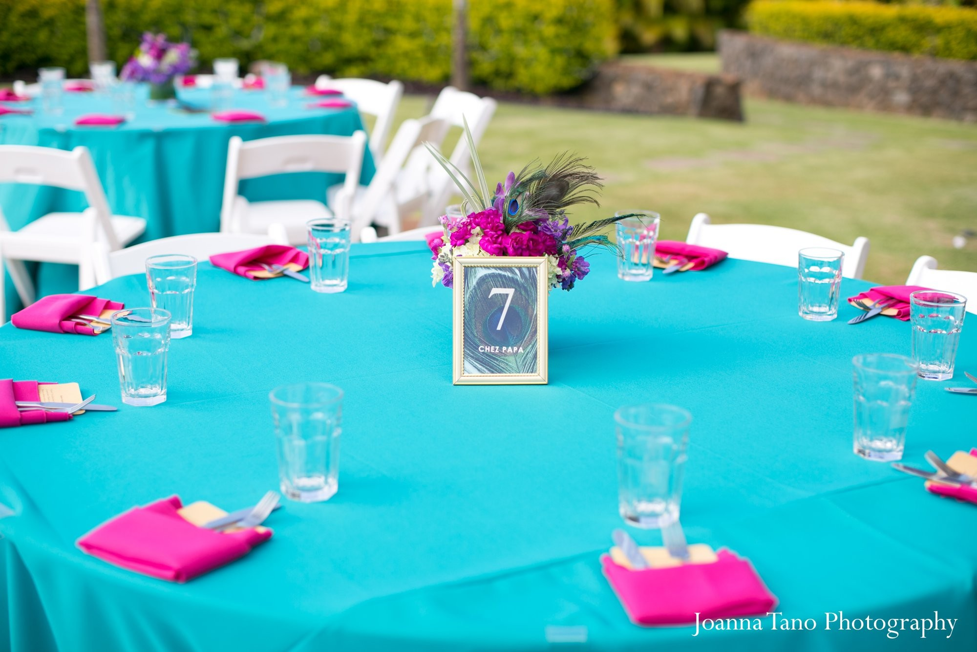 Turquoise Fuchsia Wedding: Reception In Ka'anapali, HI Indian Wedding By Joanna Tano