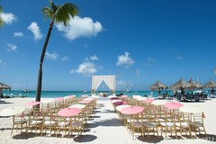 This destination wedding ceremony is a dazzling event on the beach.