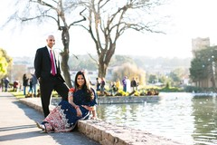 This lovely Indian bride-to-be and her dashing future husband pose for engagement portraits.