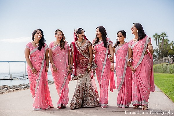 bridal party,bridesmaids,bridemaids outfit,indian bridesmaids,indian bridal party,indian bride,bridesmaid sari,bridesmaids sari,bridesmaids saree,bridesmaid saree,portraits of indian bride,indian wedding portraits,bridal party portraits