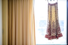 This Indian bride prepares for her wedding day with a beautiful lengha.