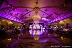 This Indian wedding reception is set in a lovely venue.