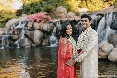 After their traditional wedding ceremony, this Indian bride and groom pose for lovely portraits.