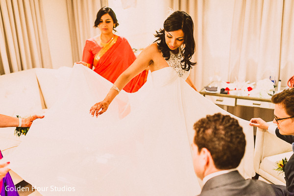 Getting ready in Beacon Falls, NY Indian Fusion Wedding by Golden Hour Studios