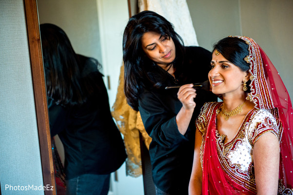 Getting ready in Morristown, NJ Indian Fusion Wedding by PhotosMadeEz