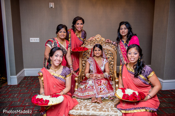 indian bridal party,indian bridesmaids,indian bridesmaid outfits,indian bride,indian sari,portraits of indian wedding,indian bridal fashions,indian bride photography