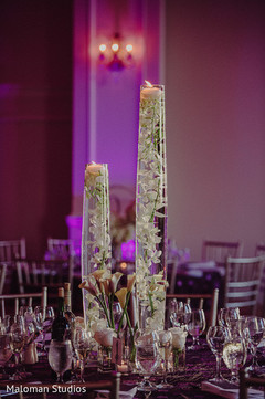 This Indian wedding reception is a beautiful event with lovely decor.
