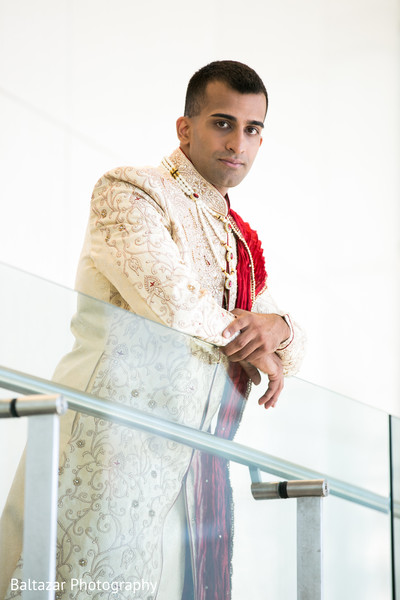 Groom Fashion in Arlington, VA Indian Wedding by Baltazar Photography