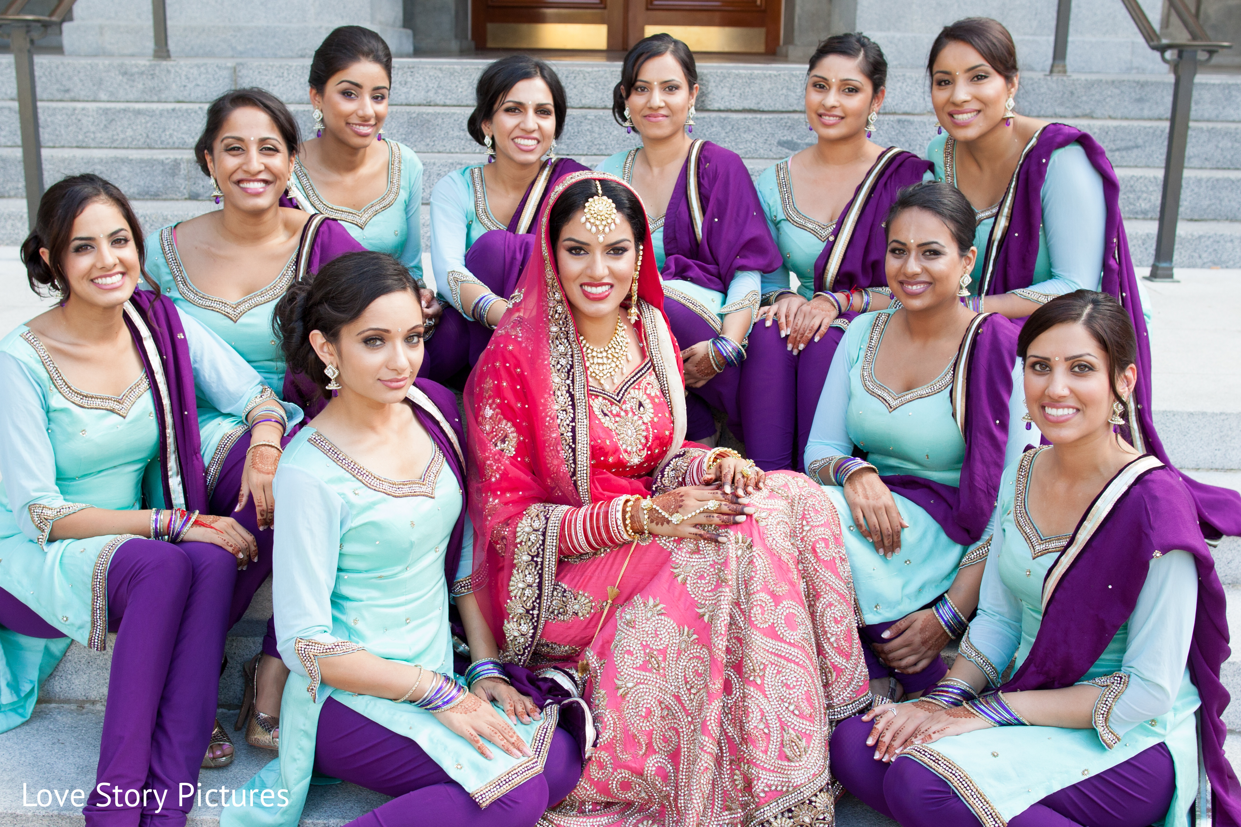 Bridal Party In Sacramento, CA Indian Wedding By Love