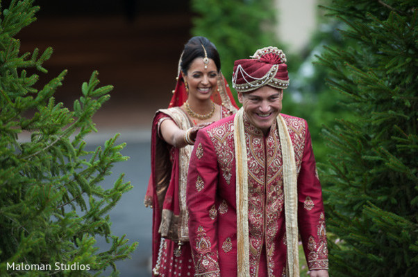 first look portraits,first look wedding portraits,Indian wedding first look portraits,Indian wedding first look,Indian bride and groom first look,Indian bride and groom first look portraits,indian bride and groom,red lengha,red lehenga