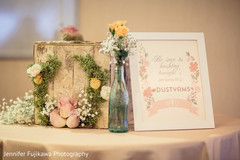 A closer look at rustically chic floral and decor for a Pakistani fusion wedding.