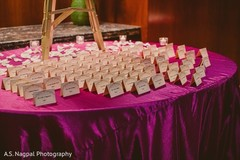 This Indian wedding reception features custom place cards.