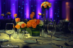 This Indian wedding reception is a beautiful affair with lovely decor.