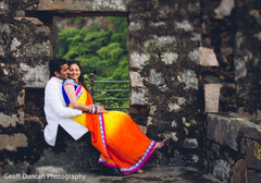 This Indian bride and groom celebrate their wedding with lovely portraits.