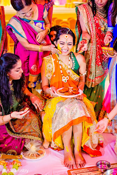 Before her Indian ceremony, this bride celebrates with a festive pithi event.