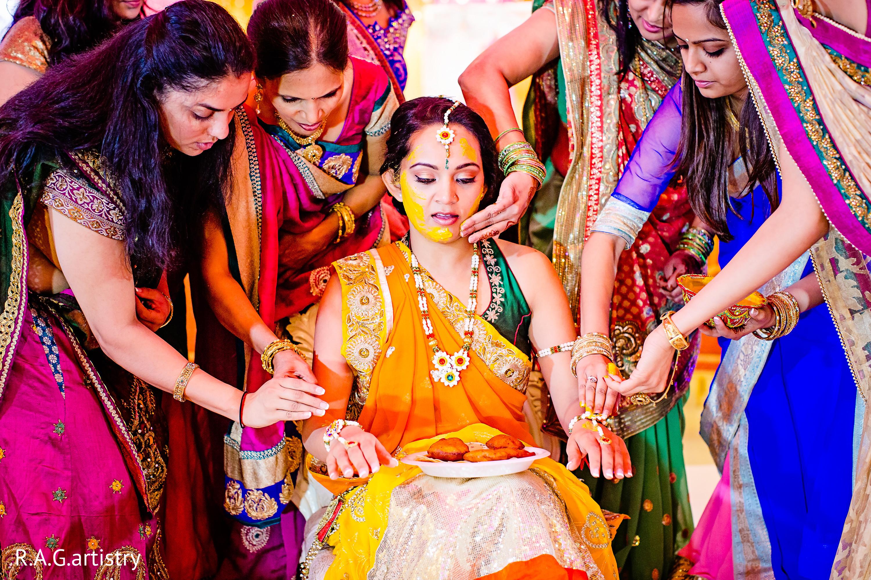 wedding indian pre pithi ceremony india celebrations maharaniweddings events haldi weddings cozumel mexico marriage saree destination bride event artistry pose