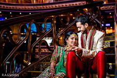 This Indian bride and groom pose for beautiful portraits.
