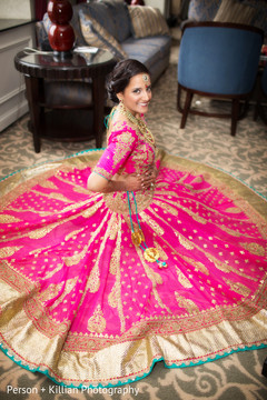 This Indian bride is all dolled up for her wedding ceremony.