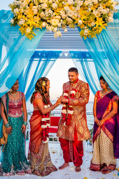 Ceremony in Cancun, Mexico Indian Destination Wedding by R.A.G.artistry