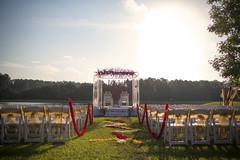 This Indian wedding features a beautiful mandap.