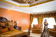 This darling bride and groom get ready for their Indian fusion wedding events!
