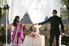 This bride and groom celebrate at their Indian wedding reception.