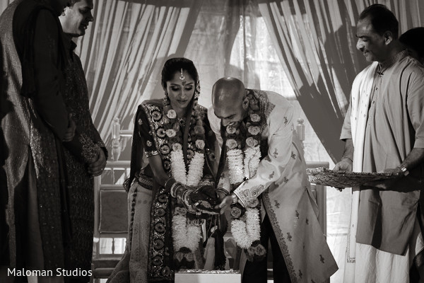 Ceremony in Mountain Lakes, NJ Indian Wedding by Maloman Studios