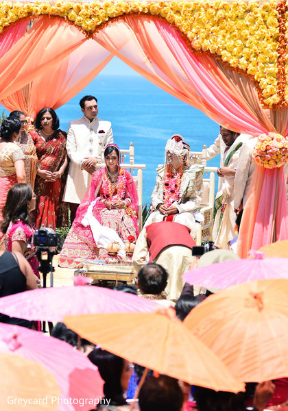 Ceremony in Dana Point, CA Indian Wedding by Greycard Photography