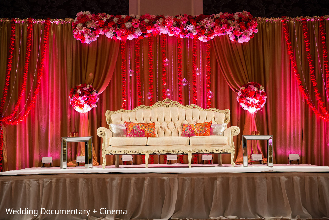 Reception in san jose ca indian wedding by wedding for Background decoration for indian wedding
