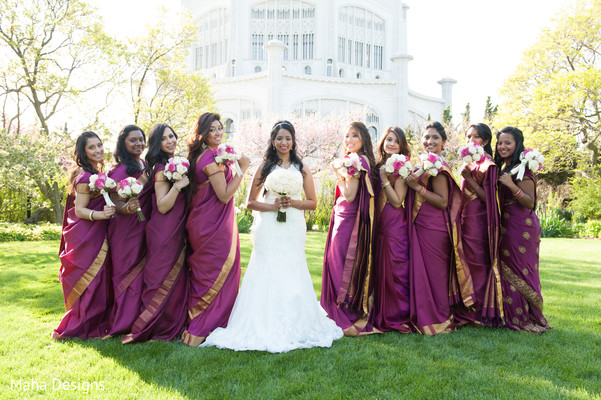 Bridal Party in Niles, IL Indian Wedding by Maha Designs