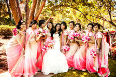 Portraits of the bride and her bridal party on her wedding day.
