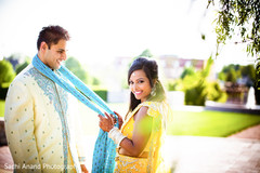 An Indian bride and groom are sunshine sweet at their pre-wedding celebrations!