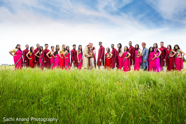 Bridal Party in Bloomington, IL Indian Wedding by Sachi Anand Photography