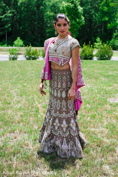 Lengha details in Indian Bridal Shower Inspiration Shoot by Julian Ribinik Photography