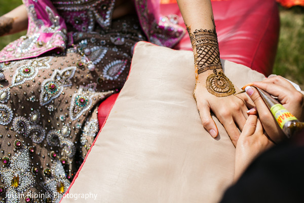 Mehndi details. in Indian Bridal Shower Inspiration Shoot by Julian Ribinik Photography
